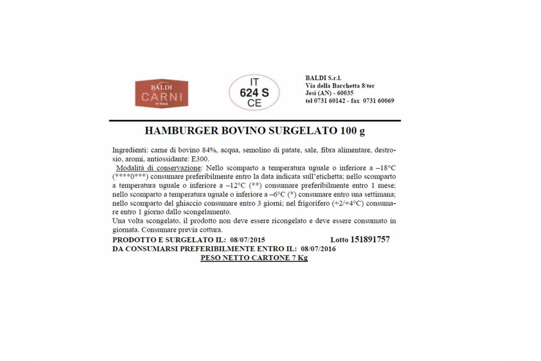 HAMBURGER DI BOVINO DA 100 GR SURGELATO